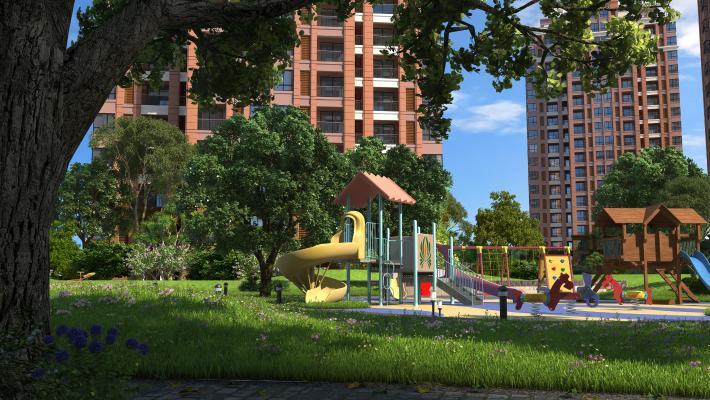 现代风格住宅区 小区儿童游玩场所