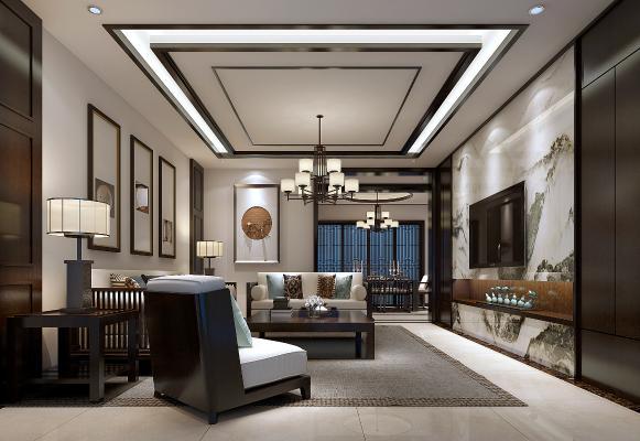 新中式客餐厅 沙发 茶几 电视柜 地毯 吊灯 台灯 装饰画 餐桌