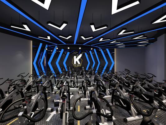 现代健身房 单车房