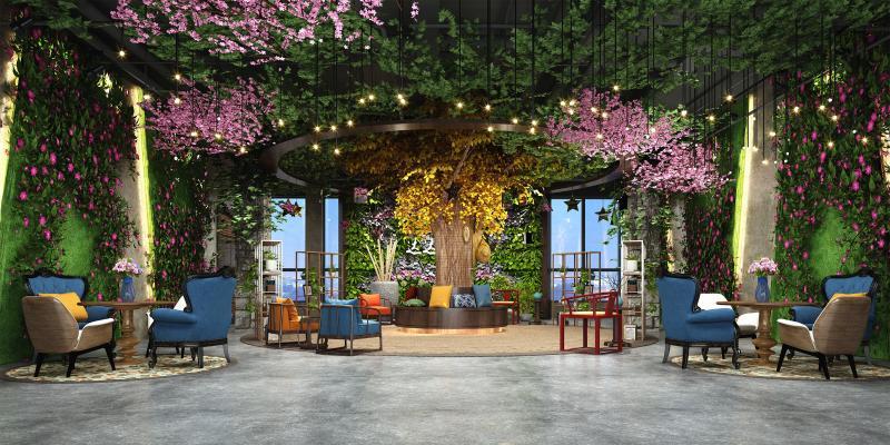 现代休闲植物书厅