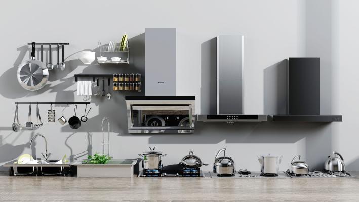 现代油烟机燃气灶水盆厨房用品组合