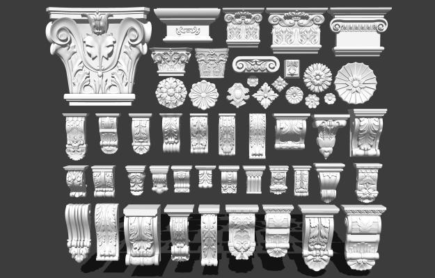 欧式石膏雕花 石膏柱头 罗马柱头
