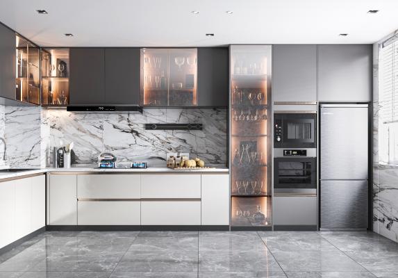 现代家居厨房 橱柜吊柜 厨房用品