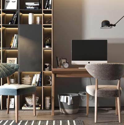 北歐書桌椅 書柜組合