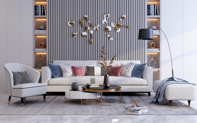 现代沙发茶几组合 装饰画 配饰