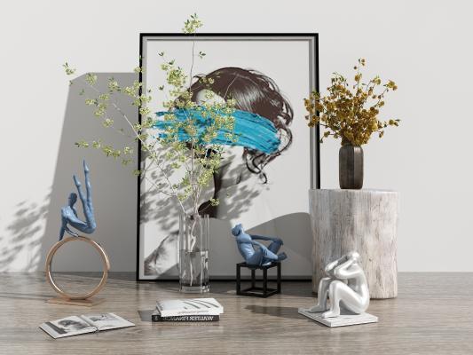 现代花瓶花卉 雕塑 人物组合