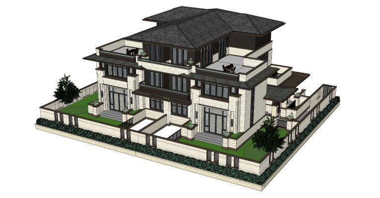 新中式双拼别墅