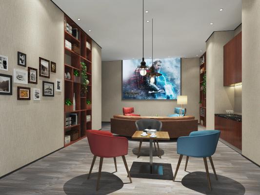 现代公司休息区 沙发 吊灯
