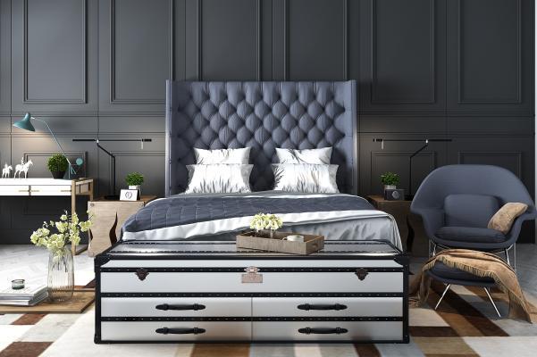 欧式双人床 床头柜 挂画 落地灯
