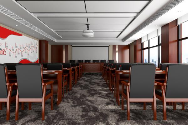 現代政府機關會議室 投影儀 桌椅