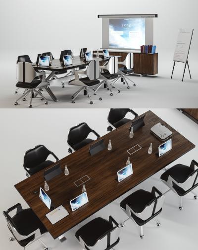 现代会议室办公桌投影组合