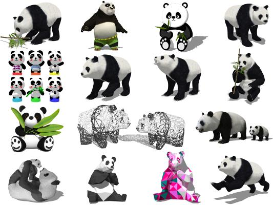 现代熊猫雕塑 小品 公仔
