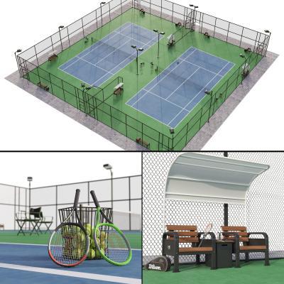 现代网球场 运动场