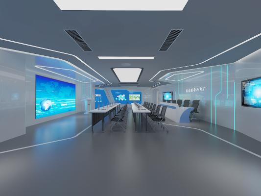 现代展厅培训室 桌椅 电子显示屏