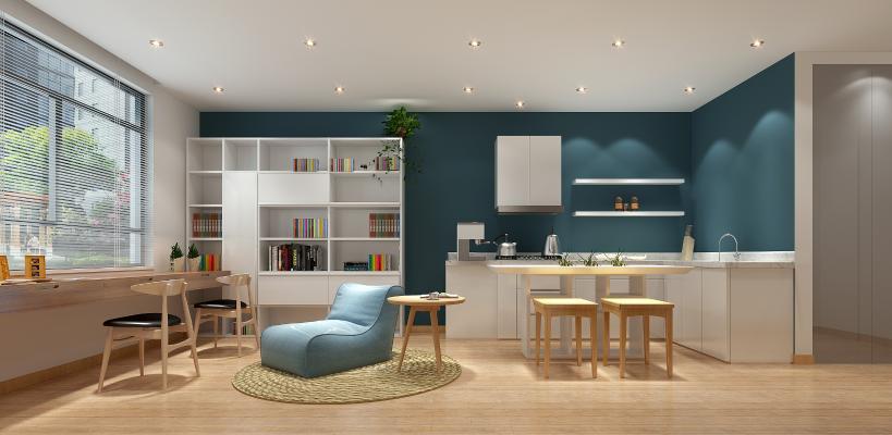 现代书房 休息区 书桌 橱柜