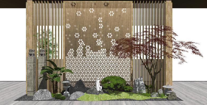新中式庭院景观 景观小品 植物