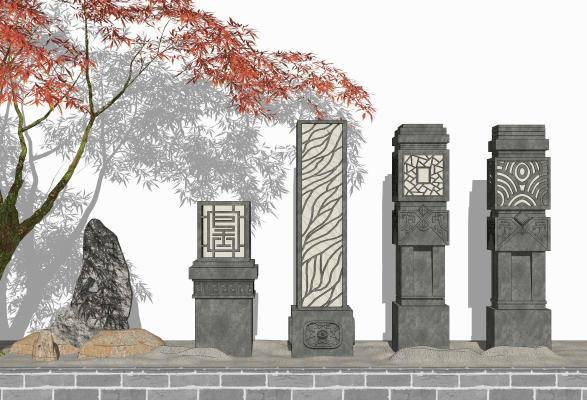 新中式景观石灯 石头 摆件组合