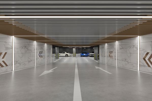 现代地下停车场 指示牌 汽车