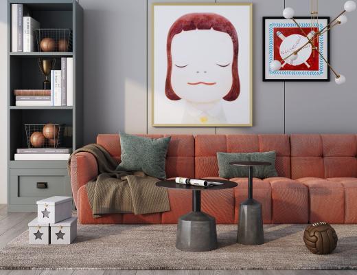 现代布艺多人沙发 装饰画 书柜