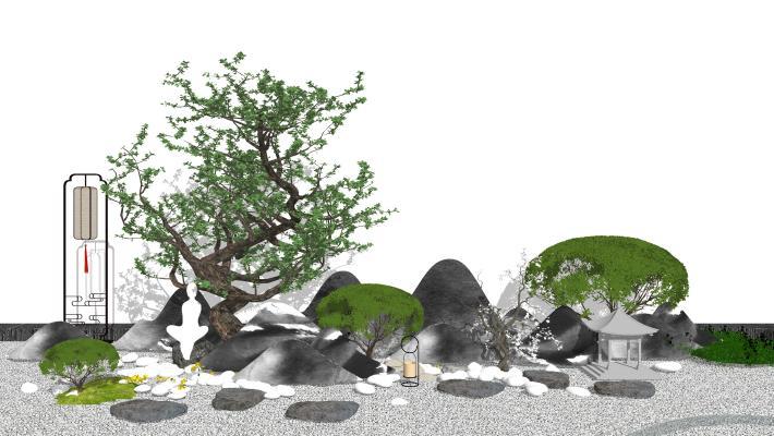 日式庭院景观小品 枯山水庭院景观 禅意景观