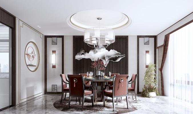 新中式圆桌餐厅 餐桌 椅子