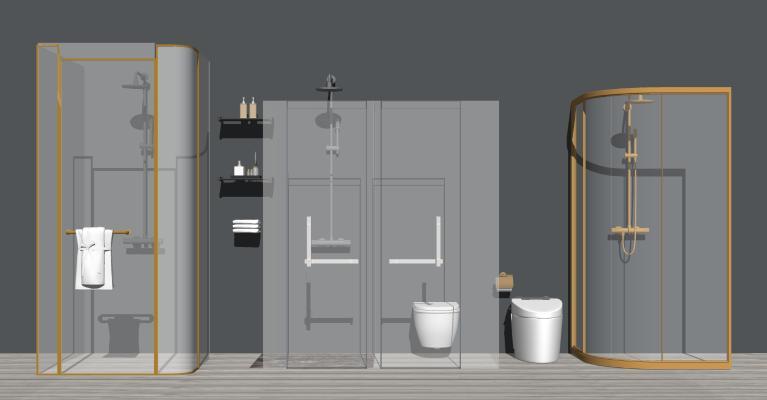 现代玻璃淋浴房 花洒 马桶