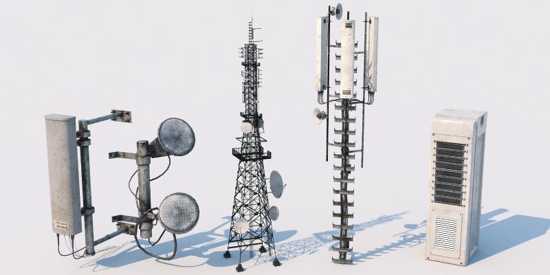 现代工业设备 信号塔 发电站