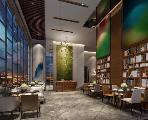 现代酒店大堂 书架 吊灯