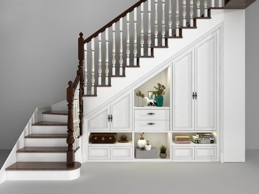 欧式实木楼梯储物柜组合