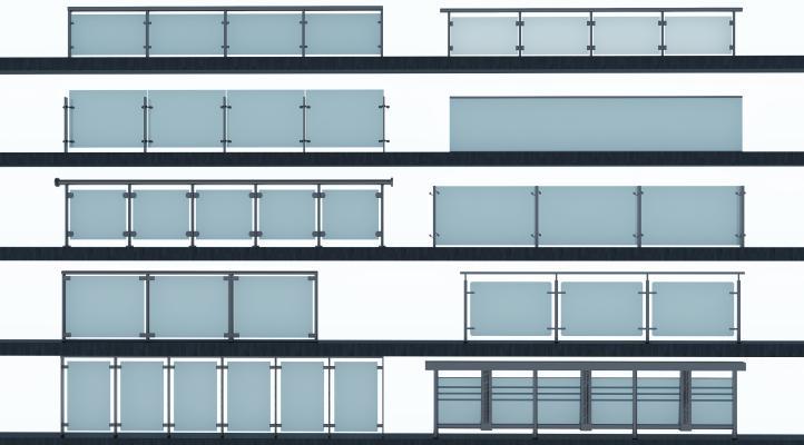 现代酒店商场玻璃栏杆