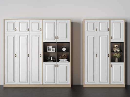 现代实木装饰柜 摆件 植物 相框 闹钟