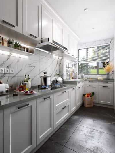 北欧风格厨房 橱柜 厨房电器 厨房用品 油烟机 灶具 装饰品 水槽