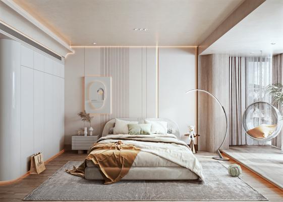 现代简约卧室 布艺双人床 床头柜