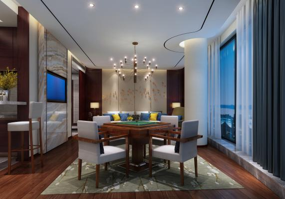 新中式家居棋牌室