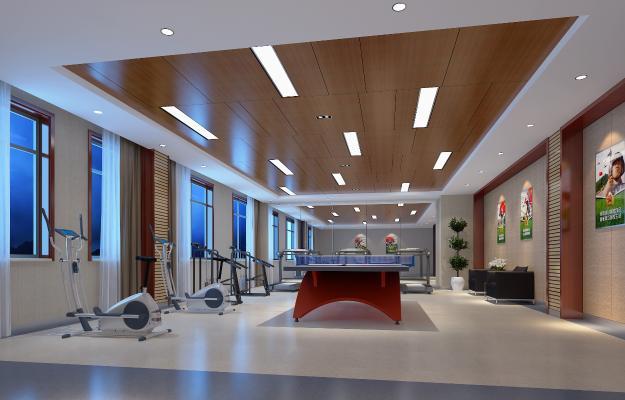 现代部队乒乓球室 健身房 活动室