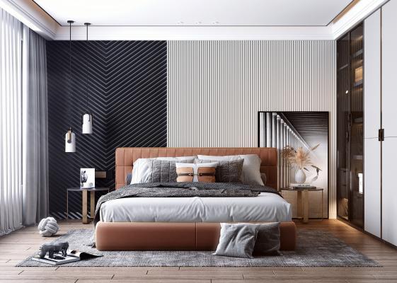 现代风格卧室 床 吊灯