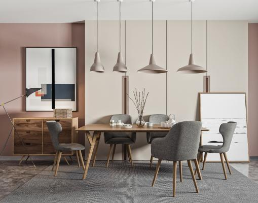 北欧餐桌椅 吊灯组合 餐椅 餐桌