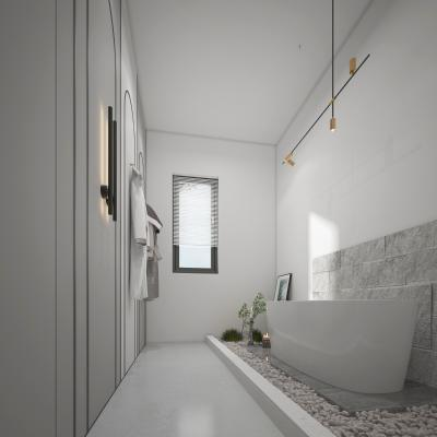 现代卫生间 浴室 吊灯 挂画