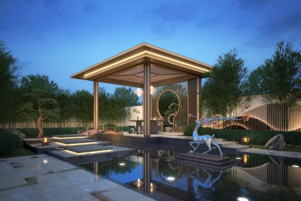 新中式庭院 水景观