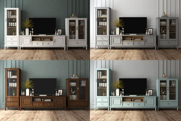 美式实木电视柜组合