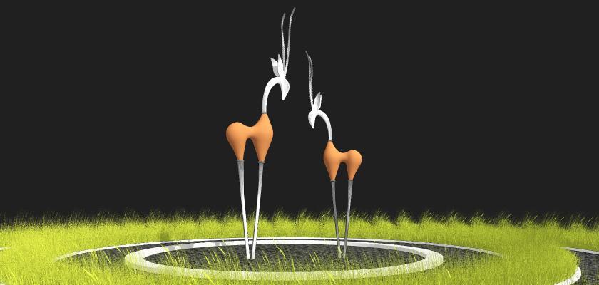 现代风格创意动物雕塑小品 羚羊雕塑景观小品 住宅小区草坪景观装置