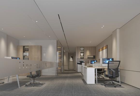 现代开放式办公区 书柜 办公桌椅