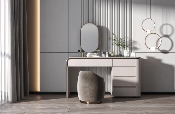 现代梳妆台 凳子 镜子 吊灯 装饰品