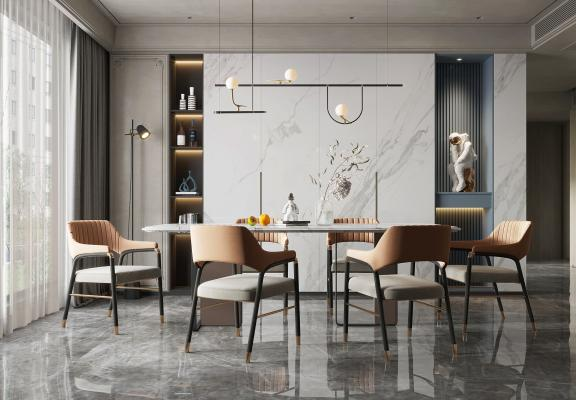 现代餐厅 餐桌椅组合 餐椅