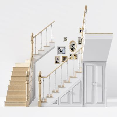 简欧实木转角楼梯 欧式楼梯储物柜 现代楼梯储藏柜 现代楼梯 隐藏储藏柜
