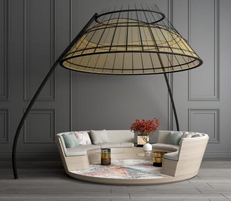 现代金属圆形卡座沙发 卡座休闲桌椅 卡座沙发椅