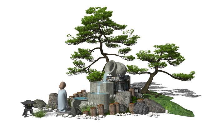 新中式景观小品 庭院景观 跌水景观 松树 水景