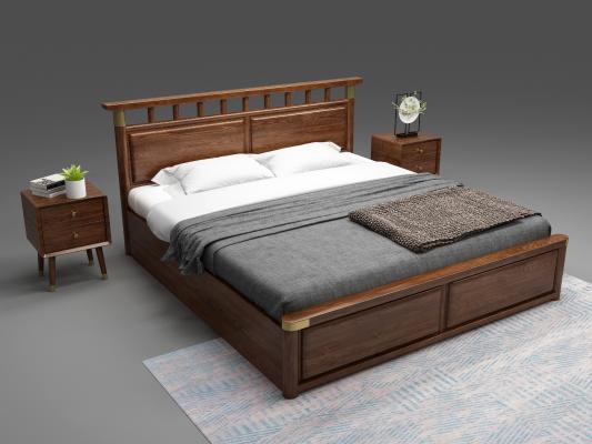 新中式床 床头柜