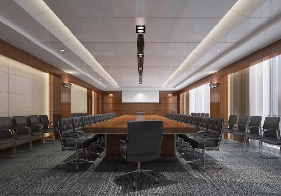 现代会议室 会议桌 办公椅 壁灯