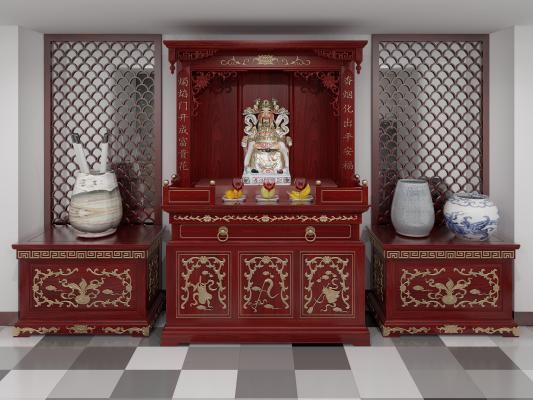 中式佛轩亭 佛龛